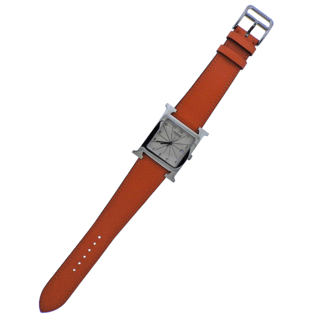 thumbnail image of Hermes H Hour Orange Band Steel Watch HH1.810