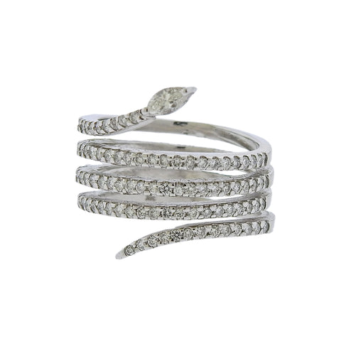 image of Modern Diamond Wrap Around Gold Ring