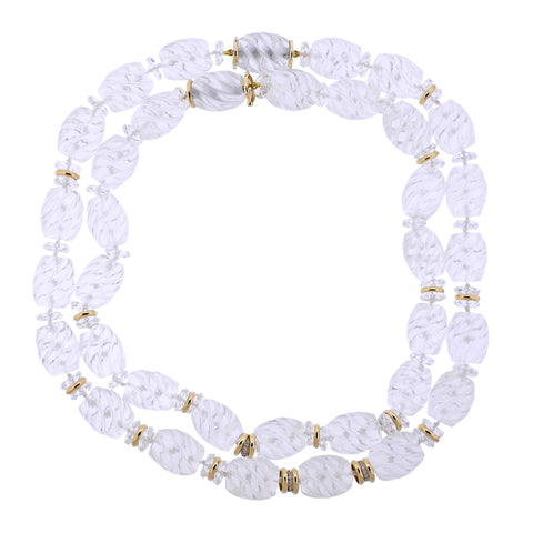 image of Seaman Schepps Torchon Carved Crystal Diamond Gold Necklace Suite