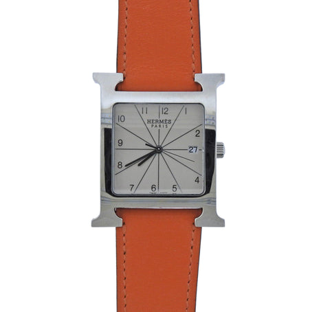 image of Hermes H Hour Orange Band Steel Watch HH1.810