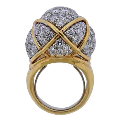 image of David Webb Diamond Gold Platinum Dome Ring