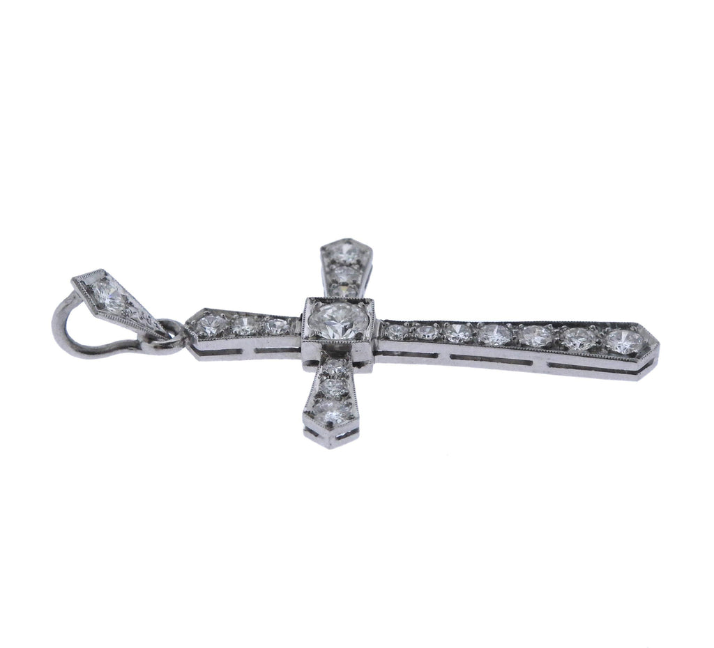 thumbnail image of Art Deco Platinum Diamond Cross Pendant