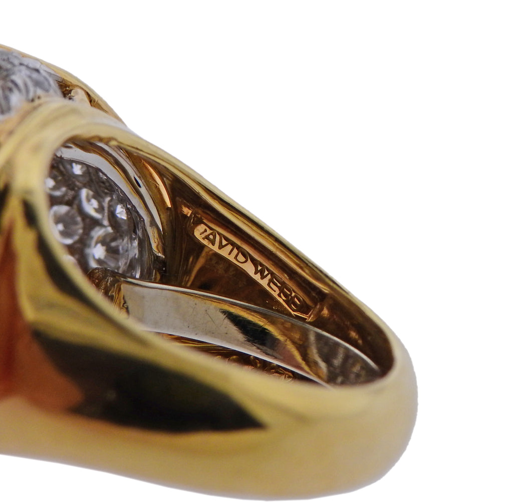 thumbnail image of David Webb Diamond Gold Platinum Dome Ring