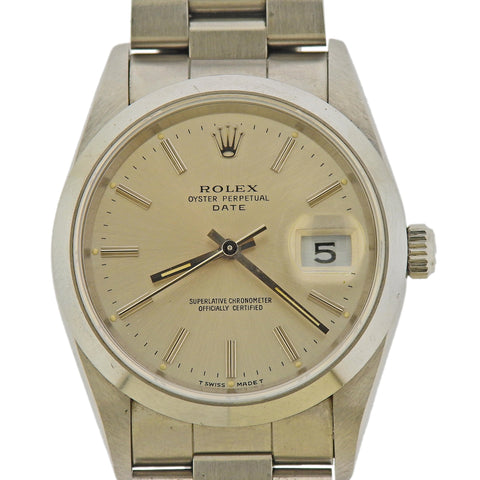 image of Rolex Oyster Perpetual Date Stainless Steel Watch 15200