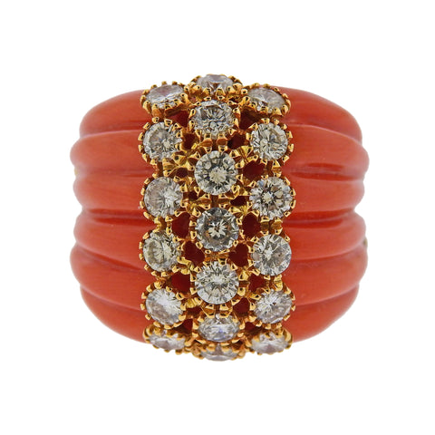 image of Carved Coral Diamond Gold Ring