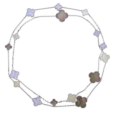 image of Van Cleef & Arpels Magic Alhambra Chalcedony Mother of Pearl 16 Motif Necklace