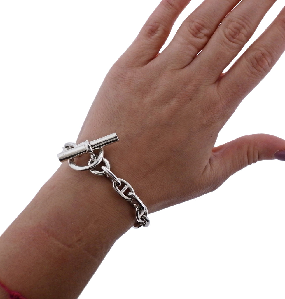 thumbnail image of Hermes Chaine d'Ancre Sterling Silver Toggle Bracelet