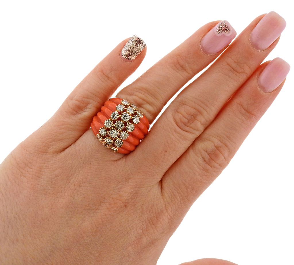 thumbnail image of Carved Coral Diamond Gold Ring