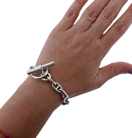 image of Hermes Chaine d'Ancre Sterling Silver Toggle Bracelet