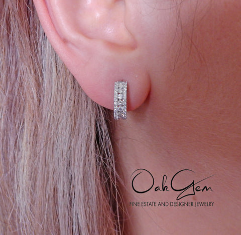 image of Modern 1.00ctw Diamond Gold Small Hoop Earrings