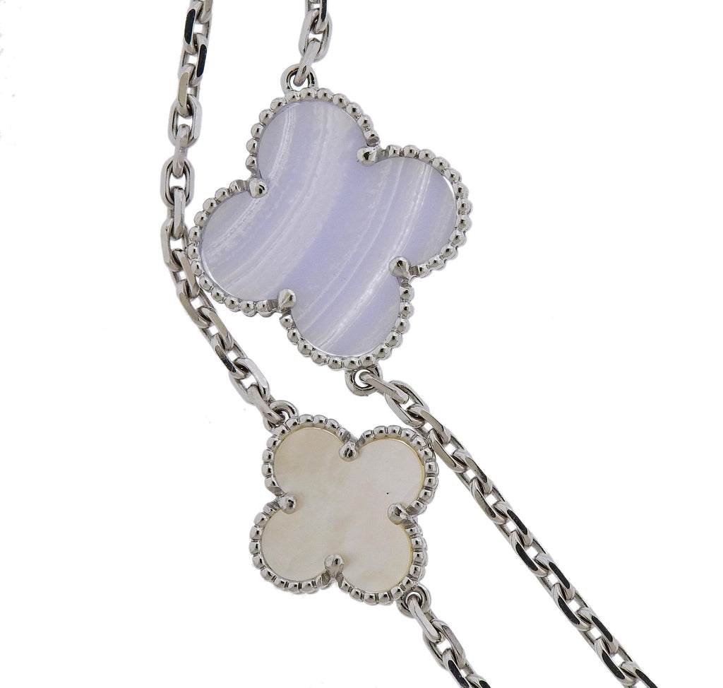 thumbnail image of Van Cleef & Arpels Magic Alhambra Chalcedony Mother of Pearl 16 Motif Necklace