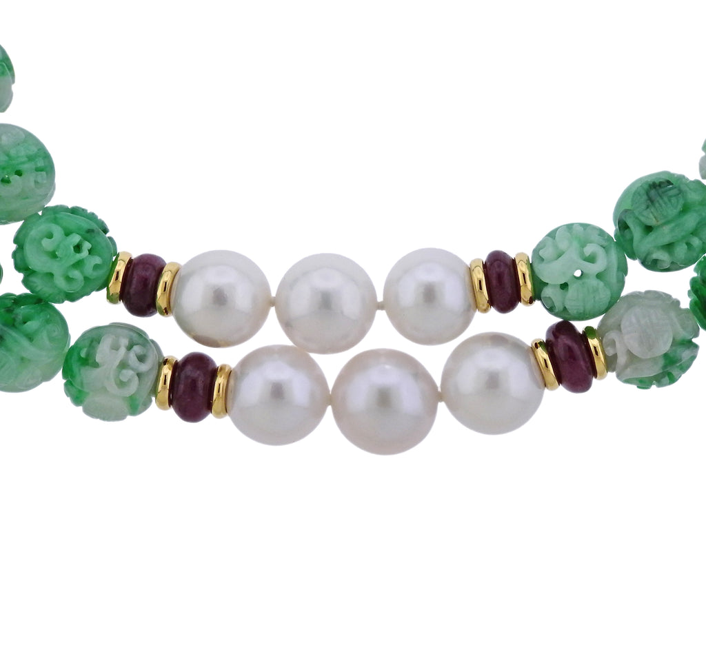 thumbnail image of Seaman Schepps Canton Carved Jade Bead Pearl Ruby Gold Necklace Suite