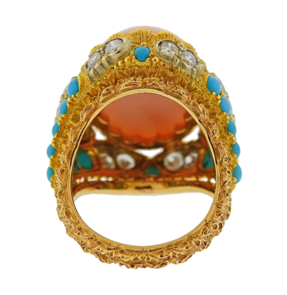 thumbnail image of Buccellati Coral Diamond Turquoise Gold Ring