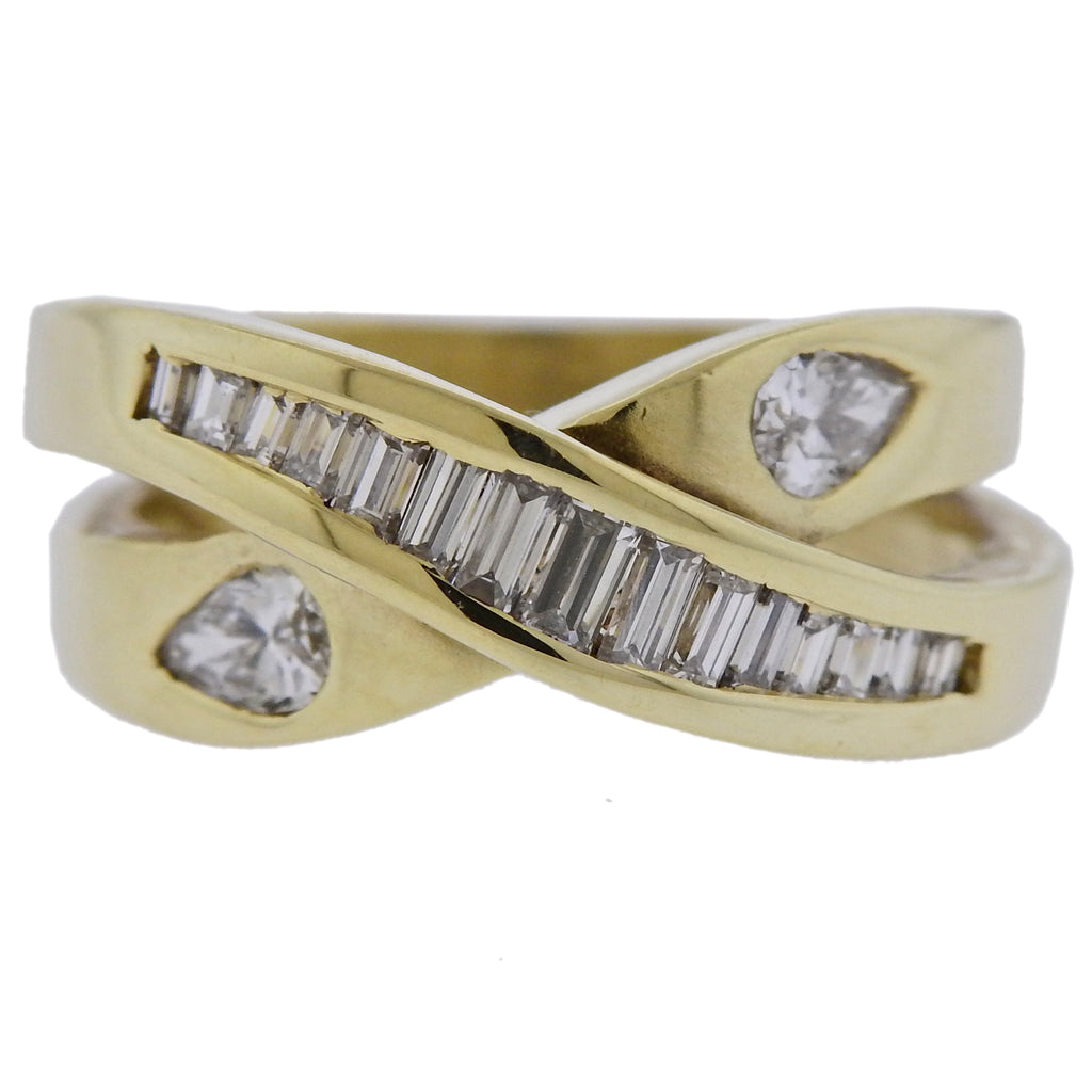 thumbnail image of 14k Gold Diamond Crossover Ring