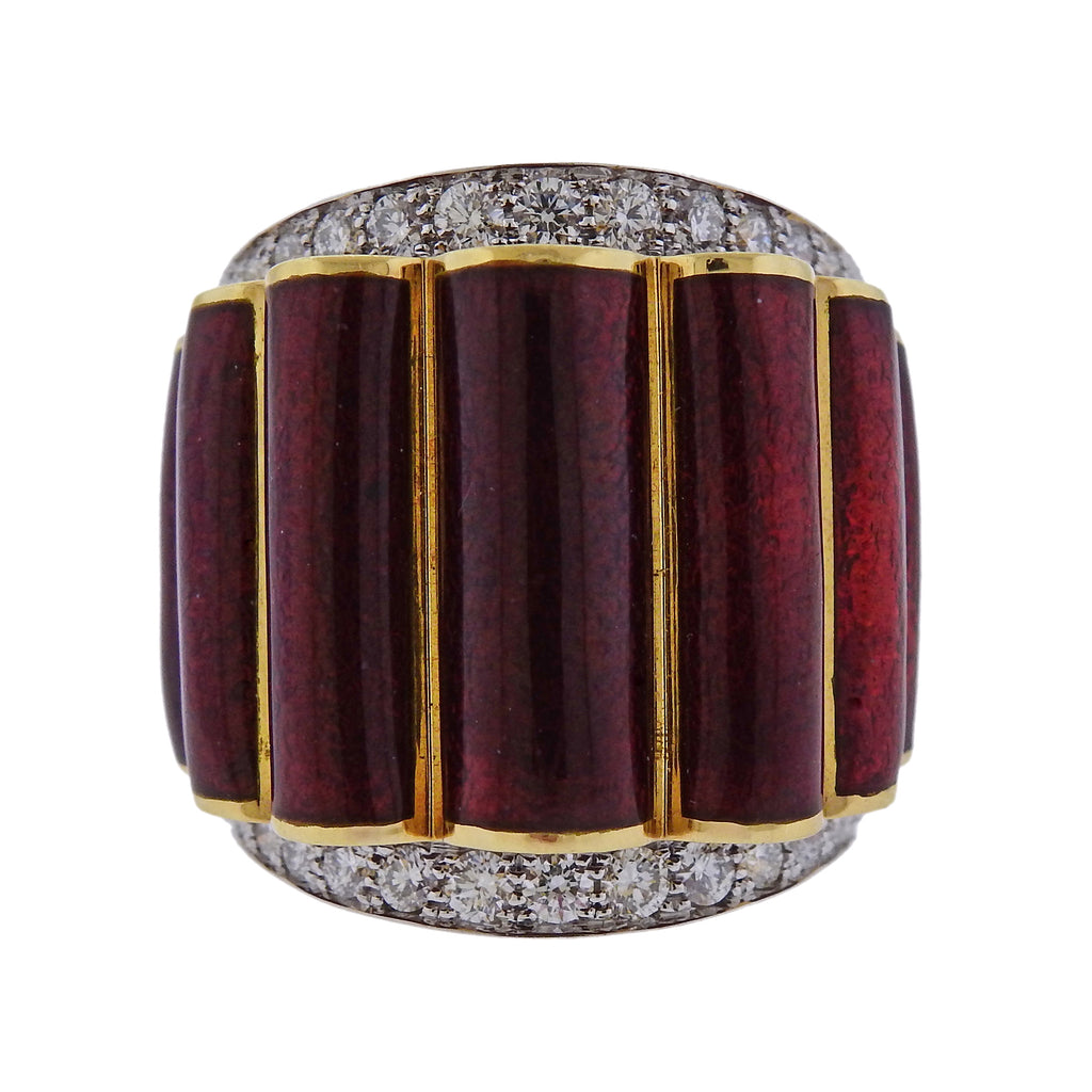 thumbnail image of David Webb Diamond Enamel Gold Platinum Scallop Ring