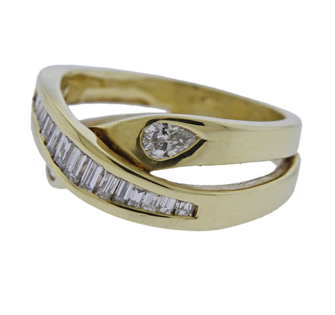 image of 14k Gold Diamond Crossover Ring
