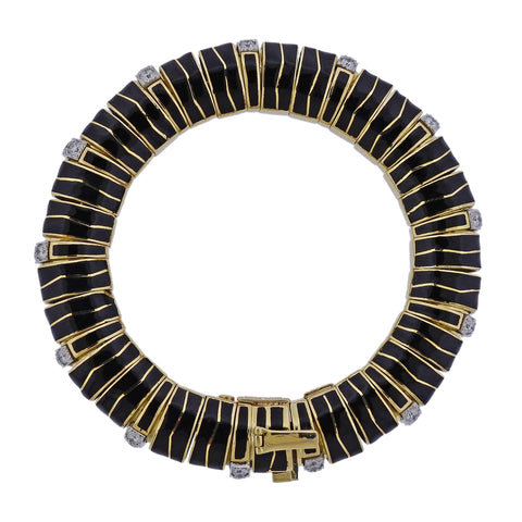 David Webb Diamond Gold Platinum Enamel Bracelet