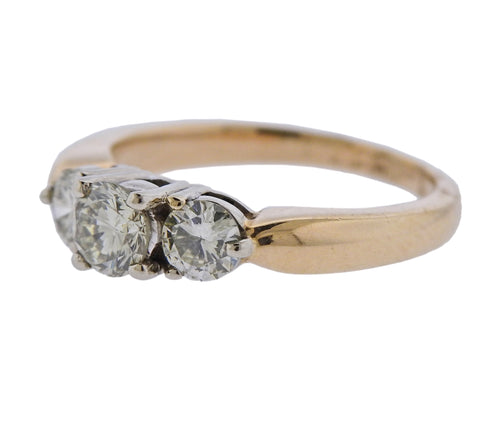 image of 14k Gold Diamond Three Stone Engagement Ring