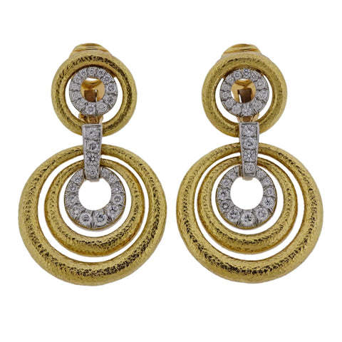 image of David Webb Diamond Hammered Gold Platinum Circle Drop Earrings