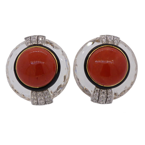image of David Webb Crystal Coral Diamond Gold Platinum Earrings