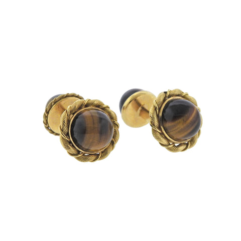 image of Tiffany & Co French Mid Century Tiger's Eye Gold Cufflinks