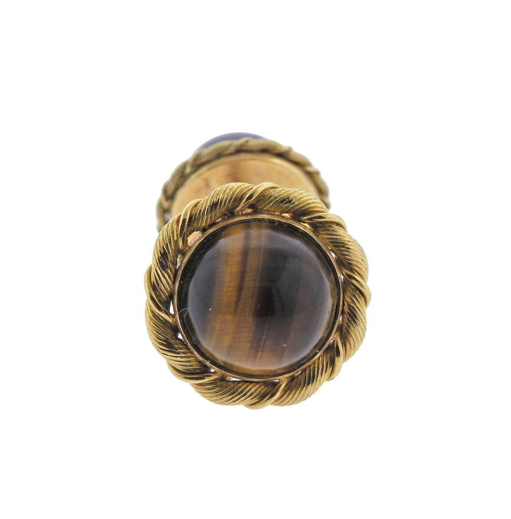 thumbnail image of Tiffany & Co French Mid Century Tiger's Eye Gold Cufflinks