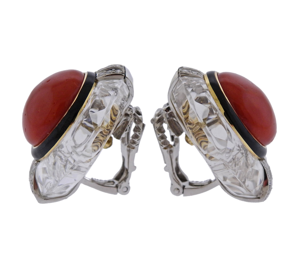 thumbnail image of David Webb Crystal Coral Diamond Gold Platinum Earrings