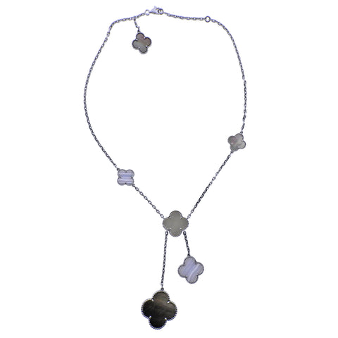 image of Van Cleef & Arpels Magic Alhambra Mother of Pearl Chalcedony Gold Necklace