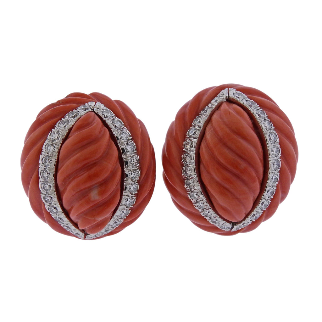 thumbnail image of David Webb Carved Coral Diamond Gold Platinum Earrings