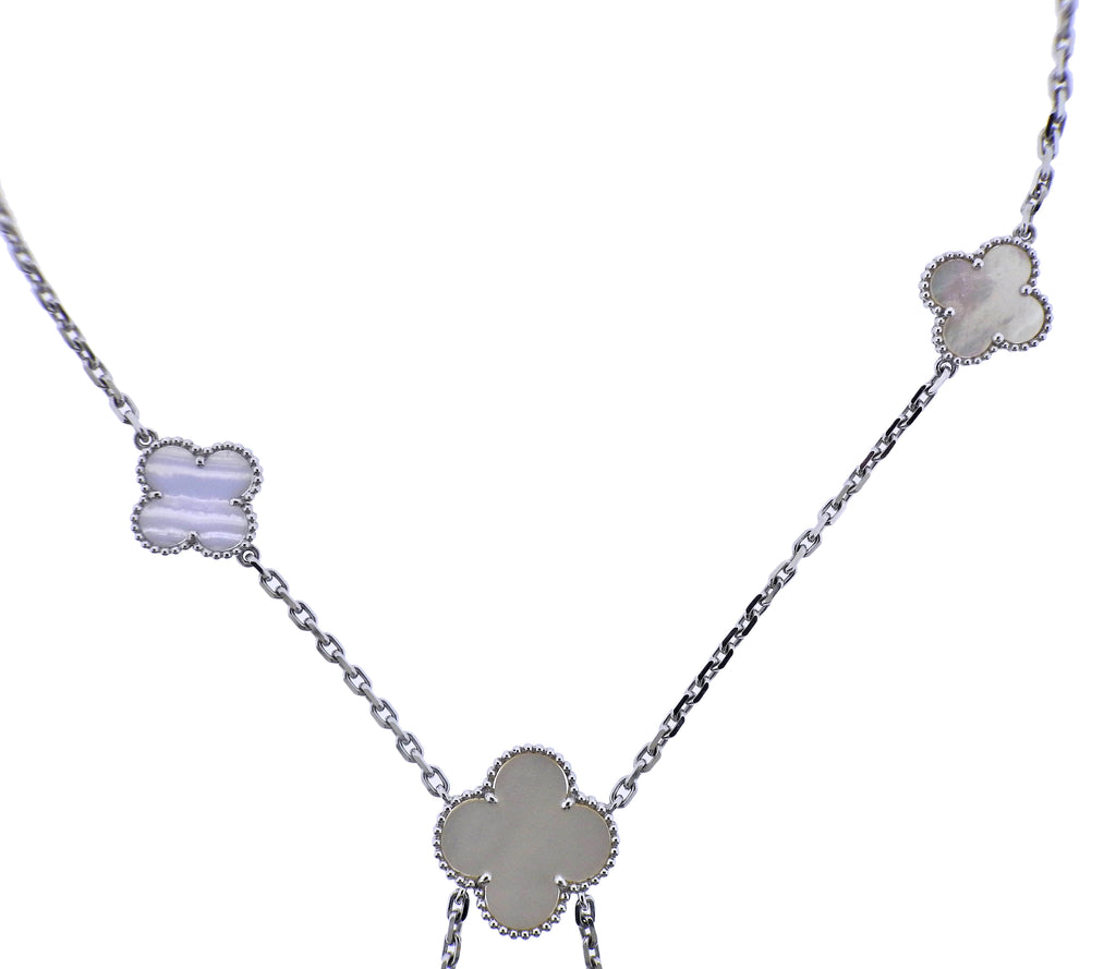 thumbnail image of Van Cleef & Arpels Magic Alhambra Mother of Pearl Chalcedony Gold Necklace