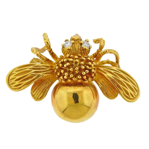 image of Tiffany & Co Gold Diamond Bee Brooch Pin