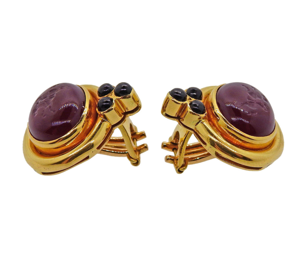 thumbnail image of Elizabeth Locke Venetian Glass Intaglio Onyx Gold Earrings