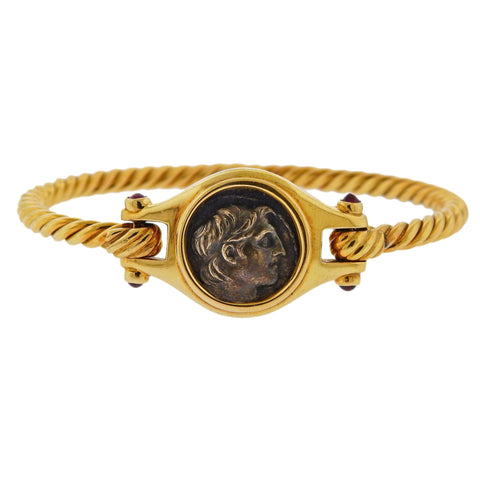 image of Bulgari Ancient Coin Ruby Gold Bracelet