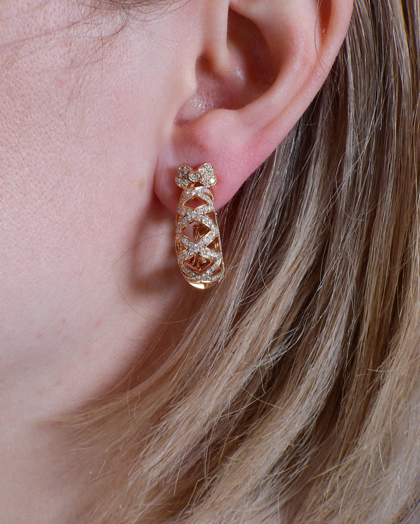 thumbnail image of Pasquale Bruni 18K Rose Gold Cage Diamond Earrings
