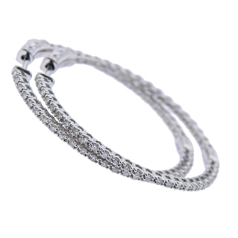 image of 0.88ctw Inside Out Diamond Gold Hoop Earrings