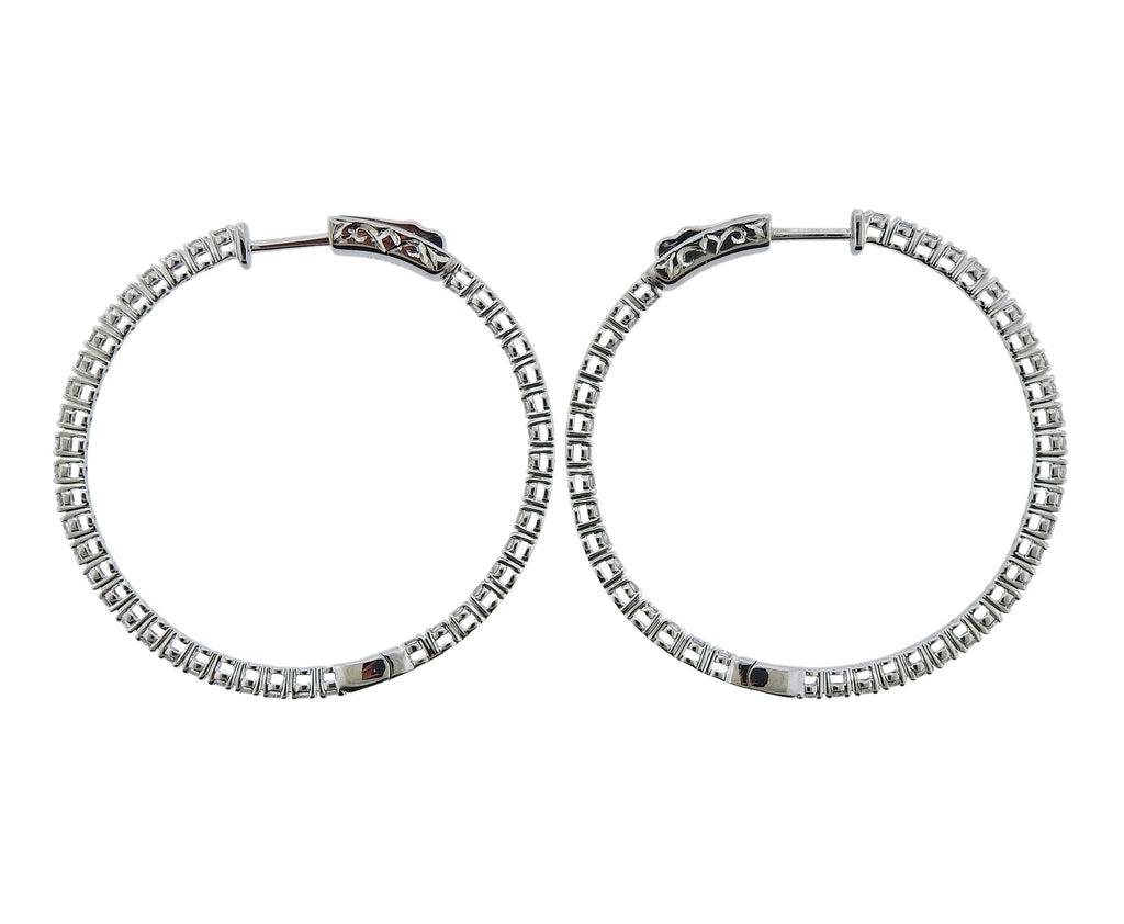 thumbnail image of 0.88ctw Inside Out Diamond Gold Hoop Earrings