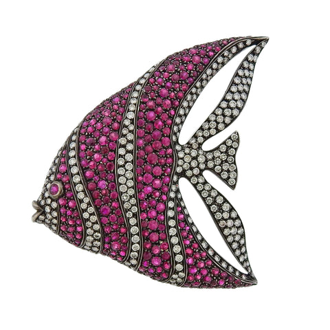 image of Cantamessa Ruby Diamond Gold Fish Brooch Pendant