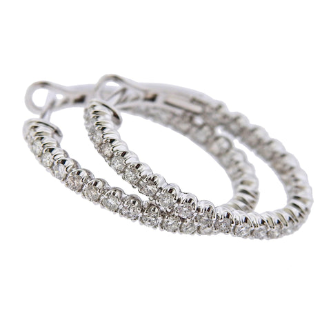 image of 1.14ctw Inside Out Diamond Gold Hoop Earrings