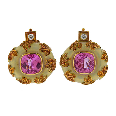 image of Elizabeth Gage Tourmaline Diamond Enamel Gold Earrings