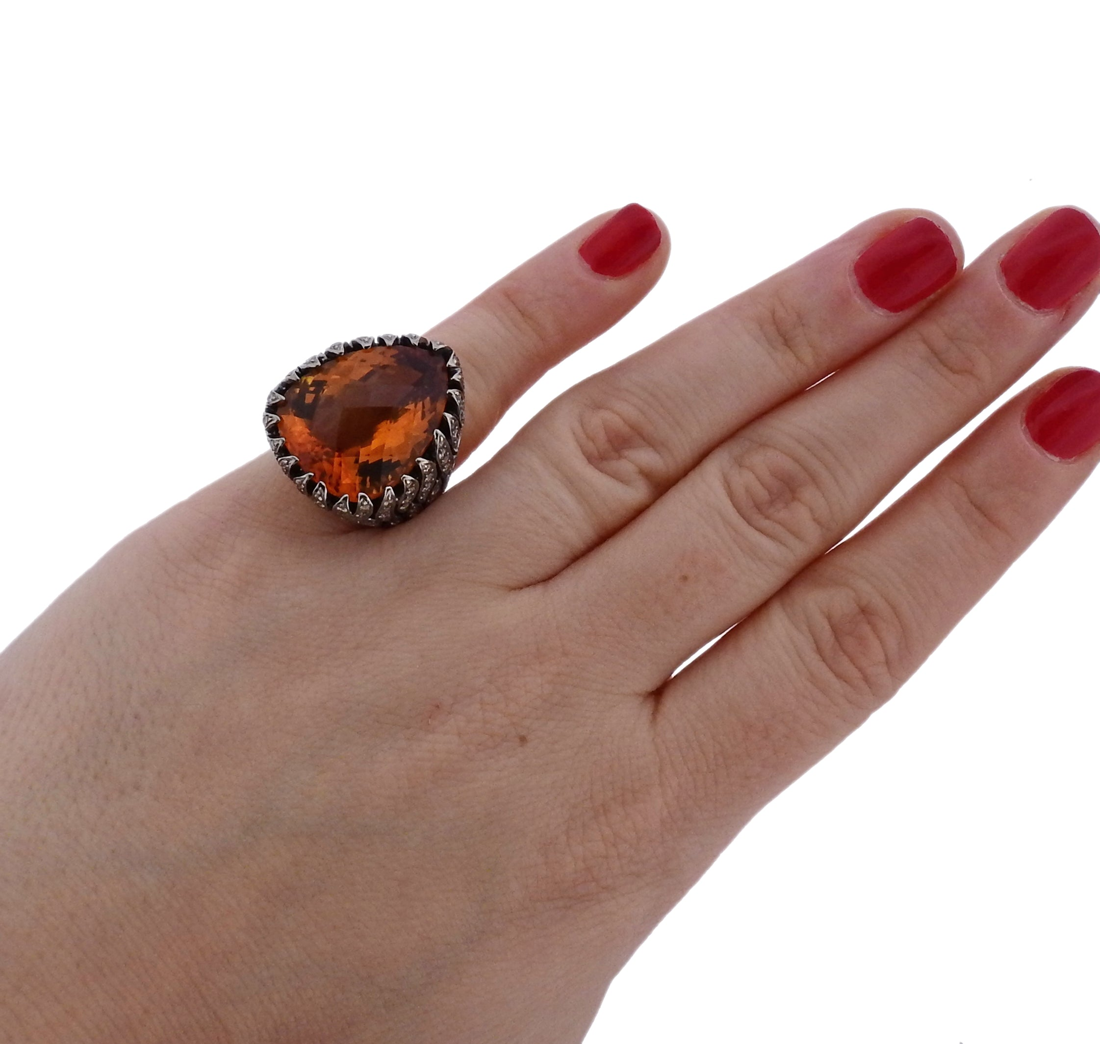 Modern 1.40ctw Fancy Diamond Citrine Gold Ring