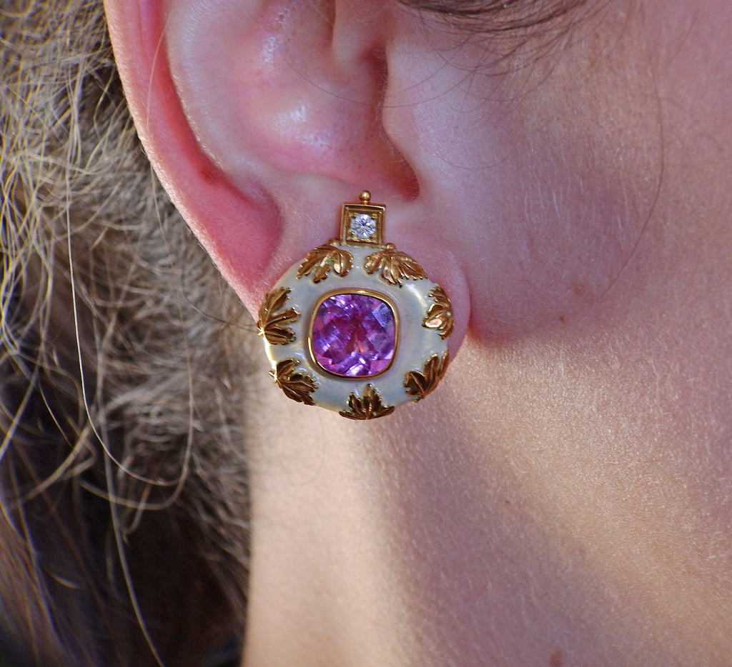 thumbnail image of Elizabeth Gage Tourmaline Diamond Enamel Gold Earrings