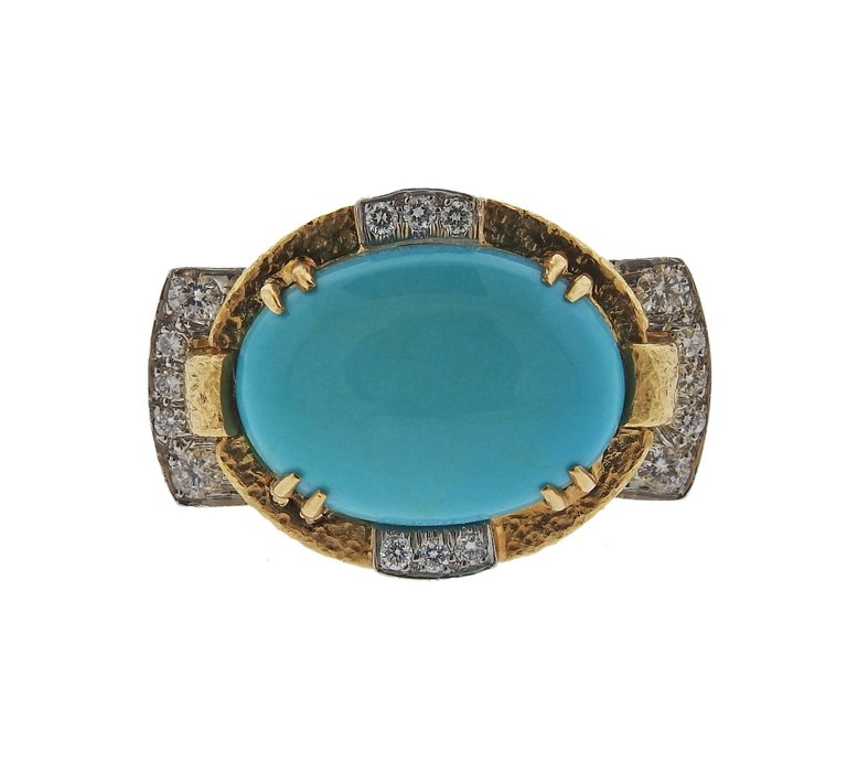 thumbnail image of David Webb Turquoise Diamond Platinum Gold Ring