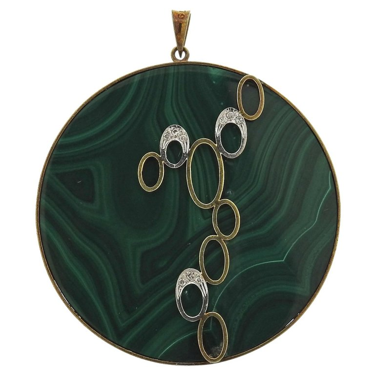 thumbnail image of 1970s Malachite Diamond Gold Pendant