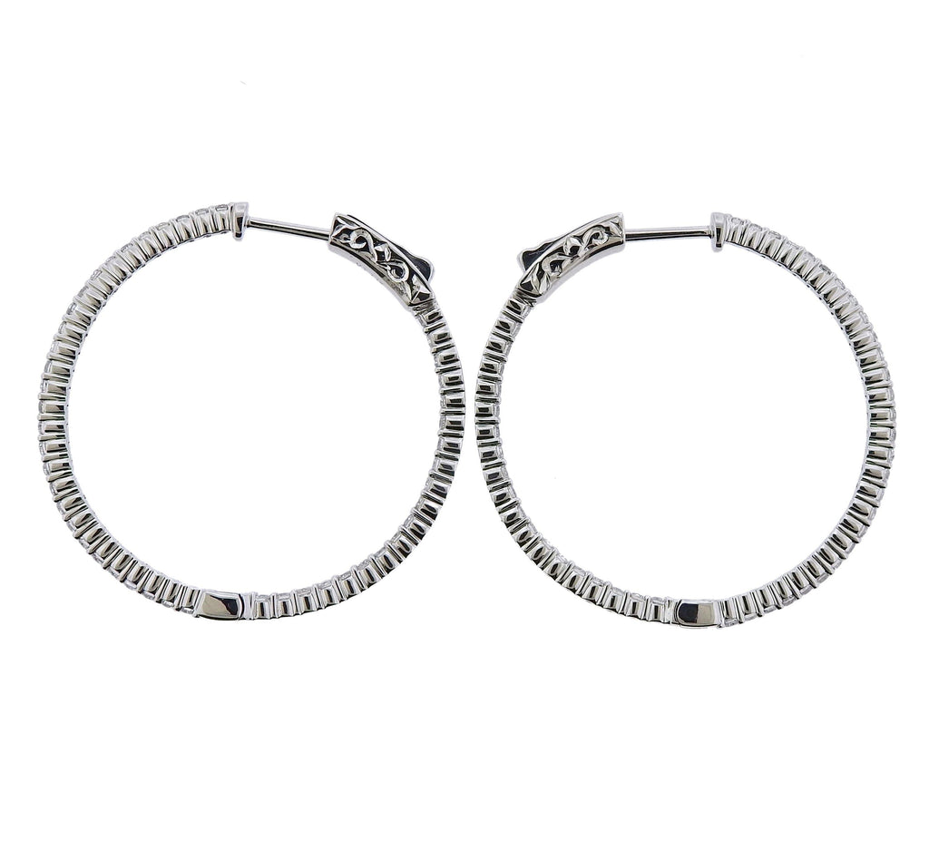 thumbnail image of 0.96ctw Inside Out Diamond Gold Hoop Earrings