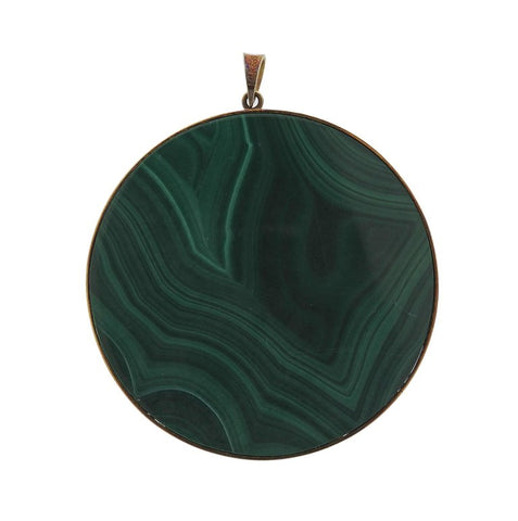 image of 1970s Malachite Diamond Gold Pendant