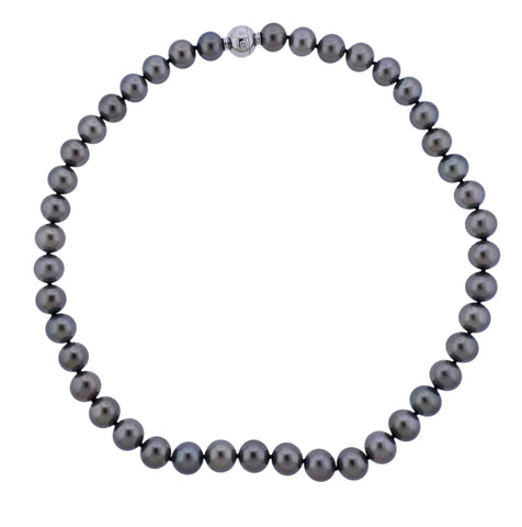 image of Mikimoto Tahitian Pearl Diamond 18k Gold Necklace
