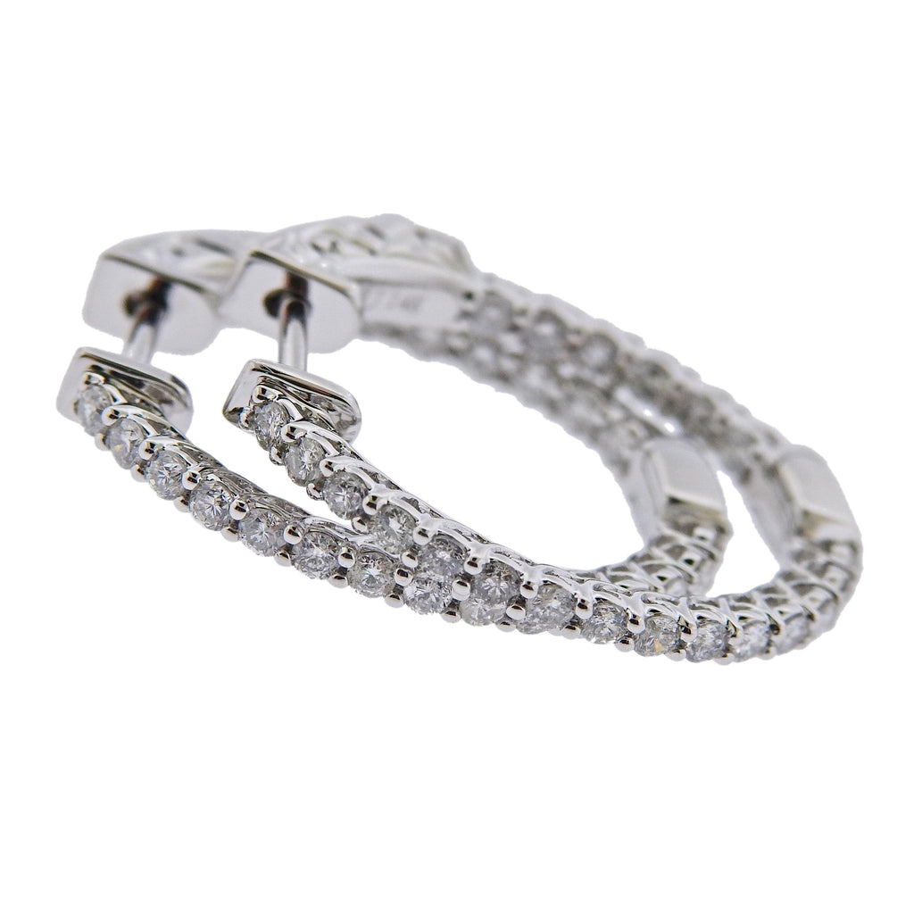 thumbnail image of 0.92ctw Inside Out Diamond Gold Oval Hoop Earrings