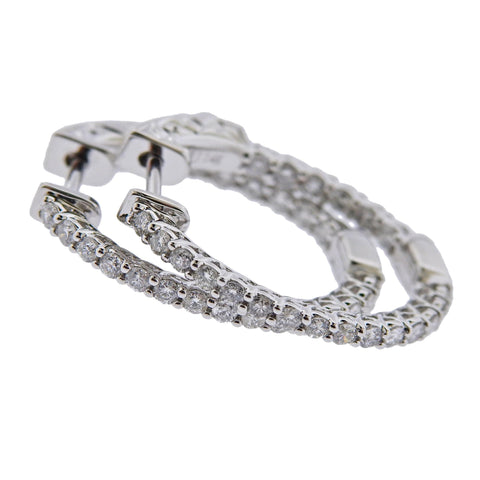 image of 0.92ctw Inside Out Diamond Gold Oval Hoop Earrings