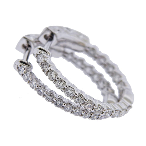 image of 0.75ctw Inside Out Diamond Gold Small Hoop Earrings