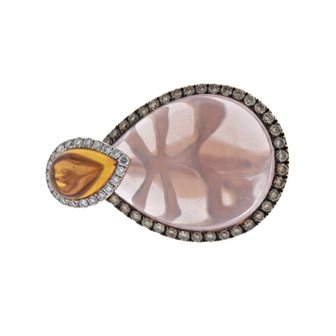 image of Rose Quartz Citrine Diamond Gold Ring